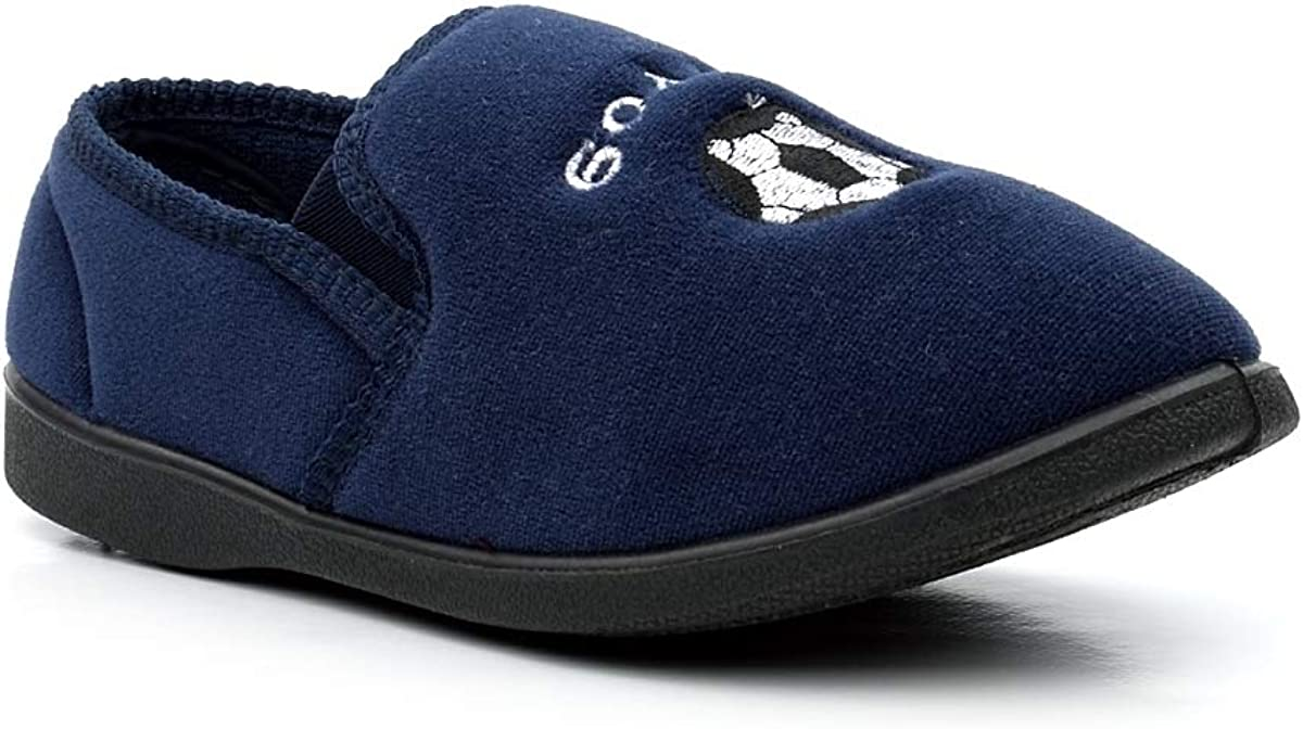 Boys Slippers Junior Slippers Boys Slip On Slippers Football Motif Lion Motif Twin Gusset Comfy Slippers Navy