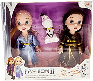 CartCalifornia Anna and Elsa Dolls 3 in 1 Beautiful 7inch Fashion Doll Set with Premium Dresses and Shoes for Kids (Brown)