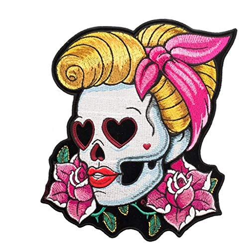 Lilie Créa Patch brodé tête de Mort pin up, Sugar Skull, écusson thermocollant Rockabilly 10 cm