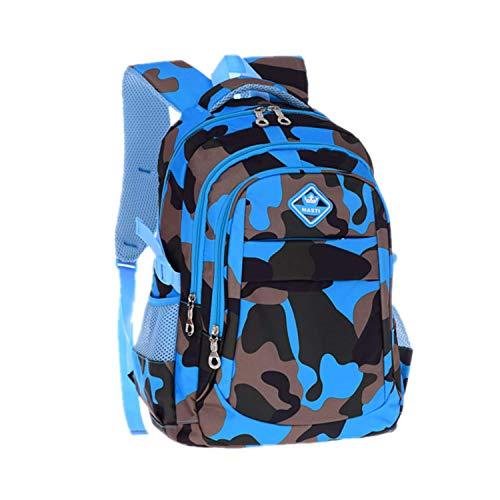 Bom Bom Ninos Ninas Mochila Escolar Camouflage Impermeable para Estudiante (Camo-Azul)