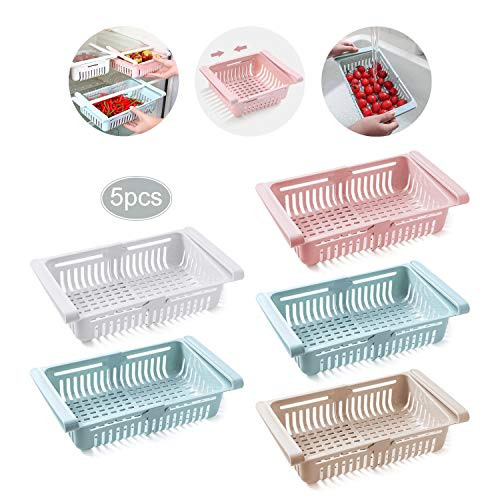 JEEZAO Organizador Nevera, Cajón de Refrigerador Retráctil, CestasdeAlmacenamientoRefrigerador,Bandeja Nevera para Verduras y Frutas (Blanco + Rosa + Albaricoque + 2 Azul)