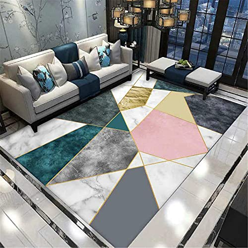 WCCCW Color Irregular Patrón geométrico Impresión Digital Oficina Salón Mesa de Café Área de Casa Alfombra-50x80cm para Comedor, Dormitorio, Pasillo y Habitación Juvenil