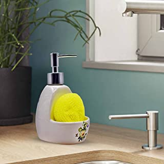 Kookee™ Ceramic Soap Dispenser Pump for Bathroom and Kitchen with Sponge for Home, Hotel, Restaurant, Office Used to Refil...