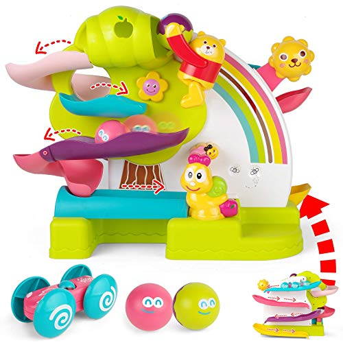 JOYIN 2 in 1 Toddler Ramp Toy, Two Sided Ramp Racer, Car Ramp Track, 2 Toddler Balls Ramp with A Dunking Bear, Toddler Toy for 5 4 3 2 1 Year Old Boy and Girl Gift