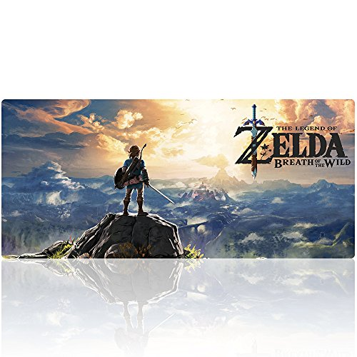 Beyme Professional Gaming Mouse Pad, Custom Design gestikte randen waterdicht anti-slip rubberen voet Mousepad geweldig voor laptop, computer en pc, 90x40 zelda021