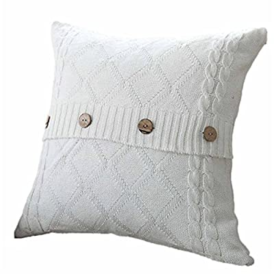 "Clearance!SFE-Throw Pillow,Cable Knit Pillow Cover 1PC (18"" x 18"") Soft Sweater Square Sofa Throw Pillow Case Cushion Cover Decorative Pillow Cover with Coconut Shell Buttons"