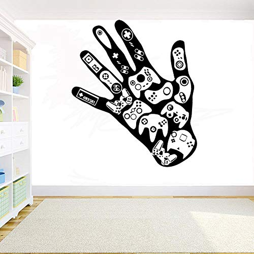 TYLPK Gamer Wall Sticker PS4 Eat Sleep Game Controller Impermeabile Vinile Wall Art Murale Nero 56x42cm