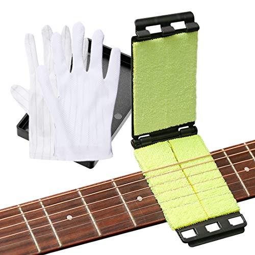 Gitarren-Saitenreiniger Pflegewerkzeugkit, Sanftes Mikrofaser-Reinigungstuch und 2 Antistatische Handschuhe, Instrument Saiten- und Griffbrettreiniger Scrubber für Gitarre/Bass/Mandoline/Ukulele