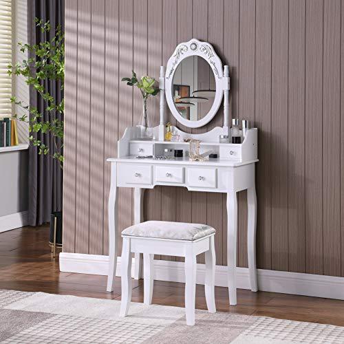 TMEE Moderner Weißer Schminktisch Holz mit Hocker u. 5 Schubladen Ovaler Einstellbare Spiegel Kosmetiktisch für Schlafzimmer Umkleideraum