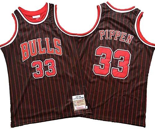Herren Bullen Scottie Pippen # 33 Chicago Bulls 1995-96 Swingman Red Stripes Trikot, Basketball Retro Gym Stickerei Ärmellose Weste Sportoberteil, Sporttraining Loose Mesh Breathable