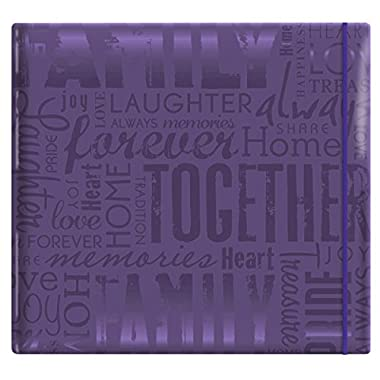 MCS MBI 13.5x12.5 Inch Embossed Gloss Expressions Scrapbook Album with 12x12 Inch Pages, Deep Purple, Embossed  Family  (848116)