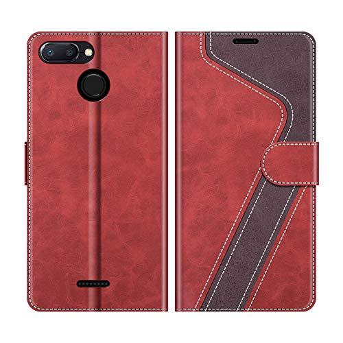 MOBESV Funda para Xiaomi Redmi 6A, Funda Libro Xiaomi Redmi 6, Funda Móvil Xiaomi Redmi 6A Magnético Carcasa para Xiaomi Redmi 6A / Redmi 6 Funda con Tapa, Rojo