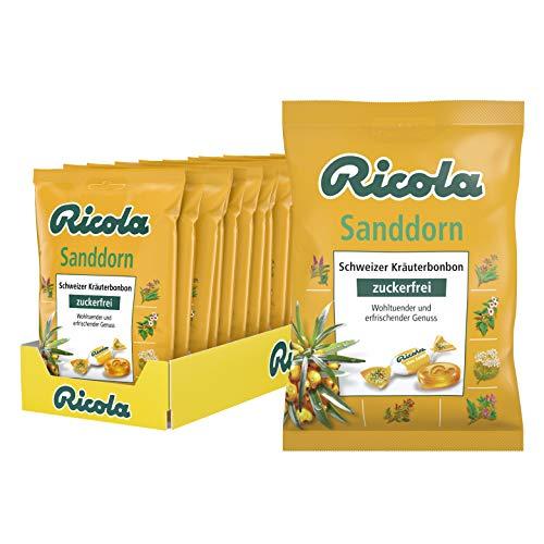 Ricola Sanddorn, Schweizer Kräuterbonbon, 18 x 75g Beutel, ohne Zucker, Wohltuend und erfrischender Genuss