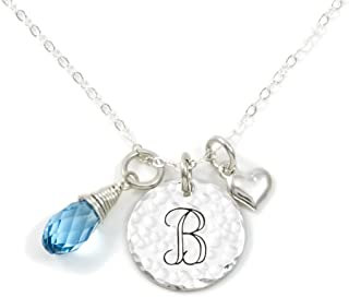 AJ`s Collection Keep It Simple- Personalized Sterling Silver Initial Monogram and Heart Charm Necklace with Swarovski Birthstone Briolette. Chic Gifts for Her, Wife, Girlfriend, and More