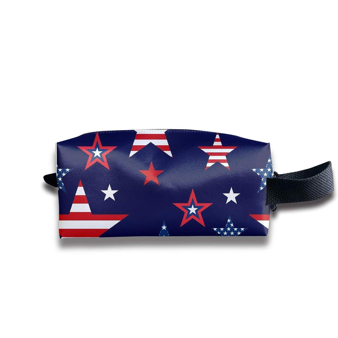 アメリカの国旗の星のパターン ペンケース文房具バッグ大容量ペンケース化粧品袋収納袋男の子と女の子多機能浴室シャワーバッグ旅行ポータブルストレージバッグ