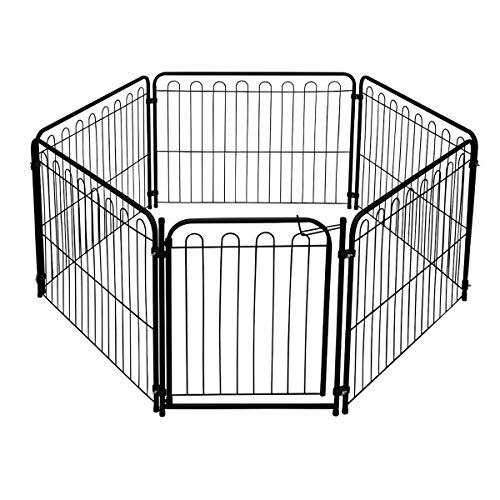 Cercado Pet 5 Modulos Delimitadores + Portão p/Cães Pequenos/Médios - Açomix Cor:Preto