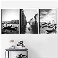 ブラックホワイトヴェネツィアシティブリッジ風景壁アートキャンバス絵画ポスターとプリント壁の写真リビングルームの装飾30x40cmx3フレームなし artppolr