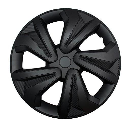 """4X Radkappen Carbon Black Auto Radzierblenden Schwarz 14"""" Zoll"""