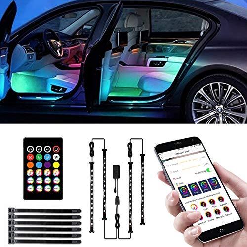 Auto LED Innenbeleuchtung, RGB Auto Innenraum Ambientebeleuchtung mit APP und Remote, Auto LED Fußraumbeleuchtung LED Strip Atmosphäre Licht mit USB Port und Musik Steuerbar