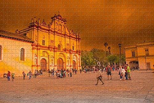 San Cristóbal de Las Casas,la Iglesia de México 1000 Pieza de Rompecabezas Juego de Puzzle de obras de Arte para Adultos,de Alta Definición de Paisaje Jigsaw Rompecabezas para Adultos Adolescentes Ni
