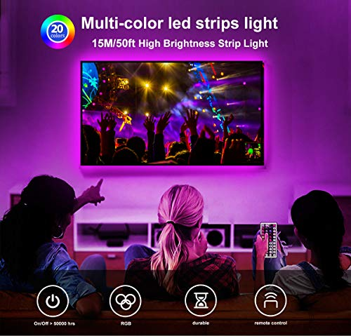 Daybetter 5050 RGB Infrared Remote Control Color Changing 50ft Led Strip Lights 6