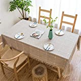 Vonabem Table Cloth Tassel Cotto...