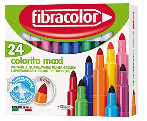 FIBRACOLOR Pennarelli Colorito Maxi confezione 24 colori, punta grossa, superlavabili