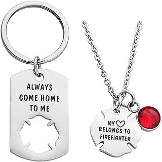 my heart belongs to a firefighter necklace