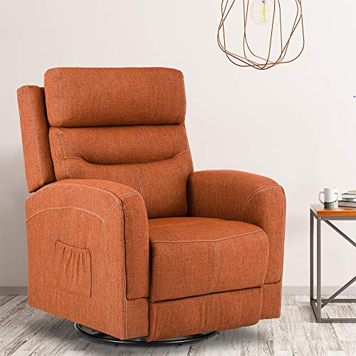 New Massage Recliner Chair Heating Fabric Ergonomic Lounge Chair for Living Room Home Theater Seating Heated Overstuffed Single Sofa with Side Pockets, 360 Degree Swivel (Fabric Orange)