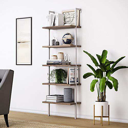 Nathan James Theo 5-Shelf Wood Modern Bookcase, Open Wall Mount Ladder Bookshelf with Industrial Metal Frame, Natural Brown/White Kansas