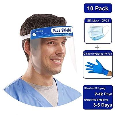 Face Shield, Reusable Protective Face Visor with Clear Film, Adjustable Band and Sponge against Splash [10 SET]