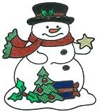 MagicGel Fensterbilder Weihnachten - Schneemann mit Stern und Baum (20 x 22 cm), Fensterdeko für das Basteln mit Kindern