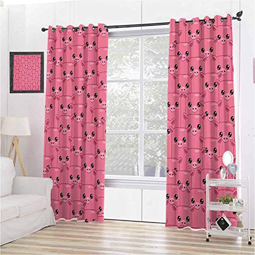 Toopeek Pig Decor Collection Shading Insulated Curtain Smiley Square Faced Little Pigs Eyes Noses Crowd Herd of Animals Pattern for Living Room or Bedroom W108 x L108 Inch Pink Bubblegum