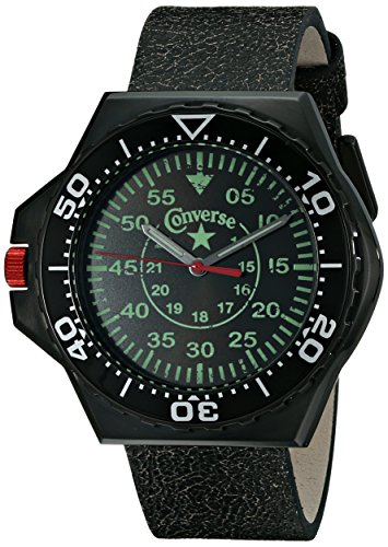Converse VR008-001 - Reloj Unisex de Cuarzo, Correa de Piel Color Negro