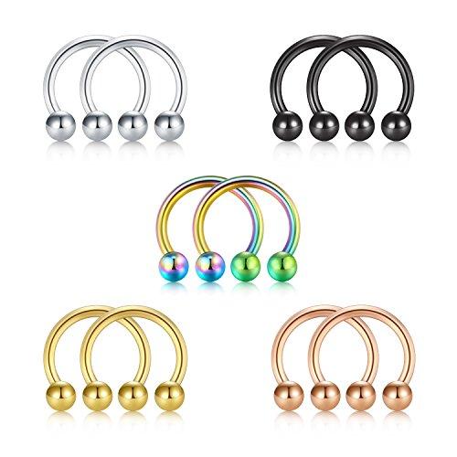 Briana Williams 5 Paar 1,2mm Nasenpiercing Hufeisen Edelstahl Lippen Nase Brust Helix Piercing Ring