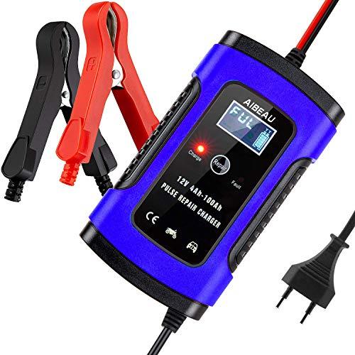 Aibeau Batterie Ladegerät Auto, Autobatterie Ladegerät 6A 12V Batterieladegerät Auto Erhaltungsladegerät mit LCD-Bildschirm Mehrfachschutz für Autobatterie, Motorrad, Rasenmäher oder Boot …