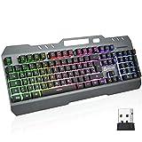 KLIM Lightning Wireless Keyboard DE + Metallrahmen und robuste Tasten + Semi-Mechanische Tastatur für PC PS4 PS5 + Gaming Tastatur Wireless mit Heller Regenbogen-Hintergrundbeleuchtung + NEU 2021