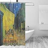 Ahomy Duschvorhang Van Gogh Street Starry Sky Bad Vorhang Wasserdicht Polyester-Mildewproof-, Vorhang für die Dusche 12Haken Sichtschutz Home Badezimmer 182,9x 182,9cm