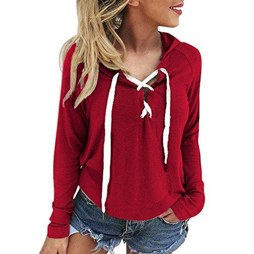 FNKDOR Sweat à Capuch Femmes Mode Lace Up Manches Longues Crop Top Automne Hiver Causal Manteau Sports Pulls(Rouge,FR-44/CN-L)