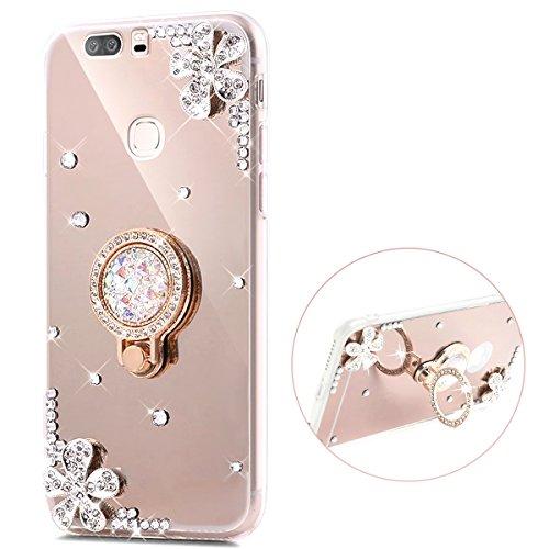 Herbests Kompatibel mit Huawei Honor V8 Spiegel Hülle Mirror Case Handytasche mit Strass Diamant Fingerhalterung Ring Ständer Halter Glänzend Bling Glitzer Silikon Handyhülle,Gold