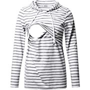GINKANA Women's Nursing Hoodie Sweatshirt Long Sleeves Breastfeeding Maternity Tops Casual Clothes