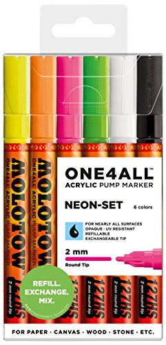Molotow One4All 127HS Acryl Marker (Neon-Set, 2 mm Spitze, hochdeckend und permanent, UV-beständig, für fast alle Untergründe) 6 Stück sortiert
