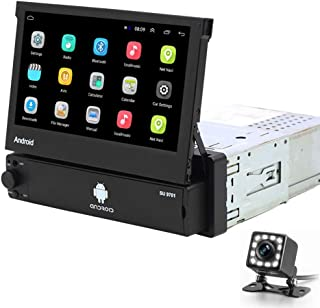 Hikity Android 1 Din Car Stereo 7 Inch Flip Out Touch Screen Radio Receicer Supports FM Bluetooth WiFi GPS Navigation Mirr...