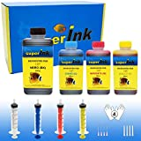 (M) Medium-4 Kit de tintas superInk (Dye) para Todas Las impresoras de HP 1x500ml Negro + 3x250ml (Cian + Magenta + Amarillo) + 4 Set de Accesorios (Guantes, jeringas, Agujas)