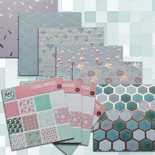 Origami Papel Papel plantillas de álbum de recortes de papel de origami tarjeta de regalo de DIY que hace Inicio hecha a mano deco 12 pulgadas Oro floral de la vendimia papel de 24 hojas impreso Papel
