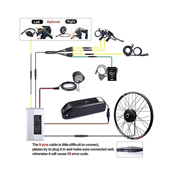 Electric Bikes Bike Conversion Kit 48V 500W Rear Wheel Motor Electric Bike Kit with PAS and BAFANG LCD Display
