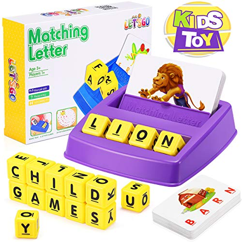 Matching Letter Game for Kids, Toys for 3-8 Year Olds Boys Girls Preschool Educational Learning Games Spelling Reading Game Gifts for 2-7 Year Old Girls Boys