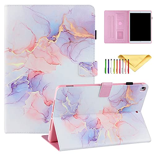 Uliking iPad 8th/7th Generation Case, iPad Air 3 Case, iPad Pro 10.5 Case, PU Leather Stand Folio Case with Auto Wake Sleep for iPad 10.2 2020 2019/iPad Air 2019/iPad Pro 10.5, White Purple Marblec