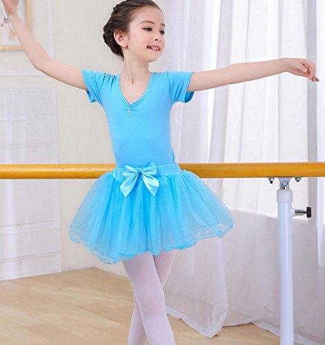 HUOFEINIAO-Tanzkleidung Kindertanzkostüme Übungskleidung für Mädchen Herbst- und Sommerkostüme Langärmeliger Kinder Tutus aus Baumwolle, 150cm, Blue