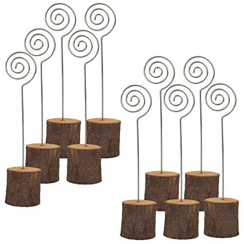 Porta Tarjetas (20 Piezas) - Base de Madera - Soporte Tocón de Madera con Clip en Espiral para Fotos, Tarjeta, Nota, Tarjeta de Visita, Tarjeta Lugar de Boda, Numero de Mesa, Etiqueta de Precio
